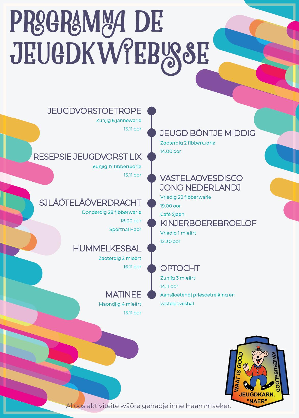 Programma Jeugdkwiebusse Naer - Sezoen 2019